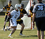 GER - Hannover, Germany, May 31: During the Men Lacrosse Playoffs 2015 match between ABV Stuttgart 1863 (white) and HTHC Hamburg (black) on May 31, 2015 at Deutscher Hockey-Club Hannover e.V. in Hannover, Germany. Final score 2:10. (Photo by Dirk Markgraf / www.265-images.com) *** Local caption *** David Ufer #3 of HTHC Hamburg
