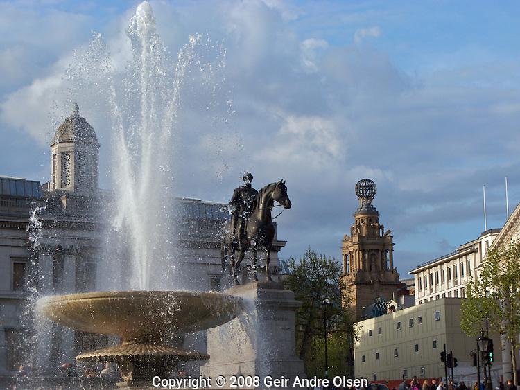 A fountain at Trafalgar Square in London, UK