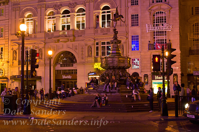 Picadilly Circus, London England in the evening.