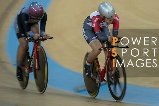 Leung Hoi Wai (R) of the SCAA competes in the Women Elite - Individual Pursuit Qualifying category during the Hong Kong Track Cycling National Championships 2017 at the Hong Kong Velodrome on 18 March 2017 in Hong Kong, China. Photo by Chris Wong / Power Sport Images