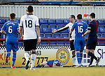 Inverness Caledonian Thistle v St Johnstone...24.10.15  SPFL  Tulloch Stadium, Inverness<br /> Dave Mackay is sent off for his tackle on Carl Tremarco<br /> Picture by Graeme Hart.<br /> Copyright Perthshire Picture Agency<br /> Tel: 01738 623350  Mobile: 07990 594431