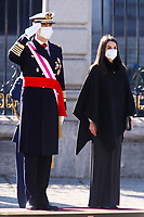 MADRID, SPAIN-January 06:  **NO SPAIN** King Felipe VI of Spain, Queen Letizia of Spain attend the Pascua Militar 2021 at the Royal palace in Madrid, Spain on  January 06, 2021. <br /> CAP/MPI/RJO<br /> ©RJO/MPI/Capital Pictures