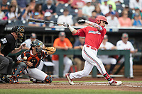 Louisville Cardinals outfielder Drew Campbell (1) follows through on his swing during Game 7 of the NCAA College World Series against the Auburn Tigers on June 18, 2019 at TD Ameritrade Park in Omaha, Nebraska. Louisville defeated Auburn 5-3. (Andrew Woolley/Four Seam Images)