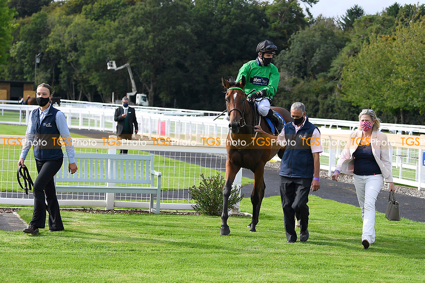 Winner of The Radcliffe & Co Novice Median Auction Stakes (Div 1) Tornadic  ridden by Charles Bishop and trained by Eve Johnson Houghton  is led into the Winners enclosure during Horse Racing at Salisbury Racecourse on 11th September 2020