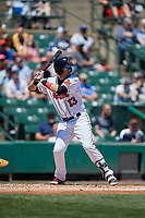 Rochester Red Wings third baseman Matt Hague (13) bats during a game against the Scranton/Wilkes-Barre RailRiders on June 7, 2017 at Frontier Field in Rochester, New York.  Scranton defeated Rochester 5-1.  (Mike Janes/Four Seam Images)