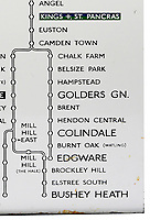 BNPS.co.uk (01202) 558833. <br /> Pic: CatherineSouthonAuctioneers/BNPS<br /> <br /> Pictured: The 1930s London Underground enamel direction sign from Elephant & Castle station complete with the unrealised extension to Bushey Heath station. <br /> <br /> Two rare London Underground signs for a branch of the Northern Line that was never built have emerged for sale more than 80 years later.<br /> <br /> Work had started on the Bushey Heath extension in 1939 but was suspended due to the outbreak of the Second World War and the land was used for farming vegetables instead,<br /> <br /> Despite the fact it never got beyond groundworks and tunnelling, signs were made detailing the new extension stations.<br /> <br /> Two signs which list the three stations planned for the extension - Brockley Hill, Elstree South and Bushey Heath - have now emerged for sale from a large single owner railway collection and are expected to fetch £2,100.