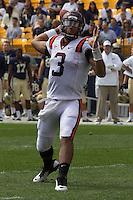 Virginia Tech quarterback Logan Thomas. The Pitt Panthers defeated the Virginia Tech Hokies 35-17 at Heinz field in Pittsburgh, PA on September 15, 2012.