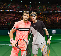 Rotterdam, The Netherlands, 16 Februari, 2018, ABNAMRO World Tennis Tournament, Ahoy, Tennis, Grigor Dimitrov (BUL), Andrey Rublev (RUS)<br /> <br /> Photo: www.tennisimages.com