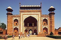 India, Agra.  Gateway to the Taj Mahal. .  Built between 1631 and 1648, Shah Jahan's monumne to Mumtaz Mahal, his favourite/favorite wife.