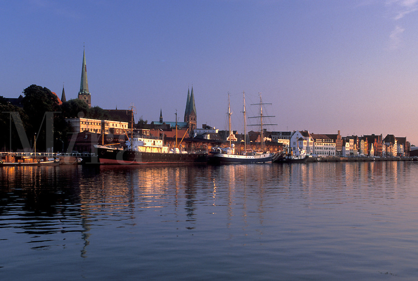 Germany, Lubeck, Schleswig-Holstein, Europe, Baltic Sea, Boats docked in the Hansahafen (harbor).