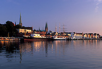 Germany, Lubeck, Schleswig-Holstein, Europe, Baltic Sea, Boats docked in the Hansahafen (harbor).