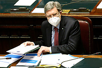 The Minister of Transport Enrico Giovannini at the Chamber of Deputies during the discussion and vote of confidence in the new Government. Rome (Italy), February 18th 2021<br /> Photo Samantha Zucchi Insidefoto