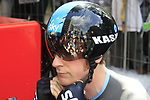 Bradley Wiggins (GBR) Sky Procycling prepares to start the Prologue of the 99th edition of the Tour de France 2012, a 6.4km individual time trial starting in Parc d'Avroy, Liege, Belgium. 30th June 2012.<br /> (Photo by Eoin Clarke/NEWSFILE)