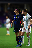 ORLANDO CITY, FL - FEBRUARY 24: Alex Morgan #13 of the USWNT waits for the ball during a game between Argentina and USWNT at Exploria Stadium on February 24, 2021 in Orlando City, Florida.