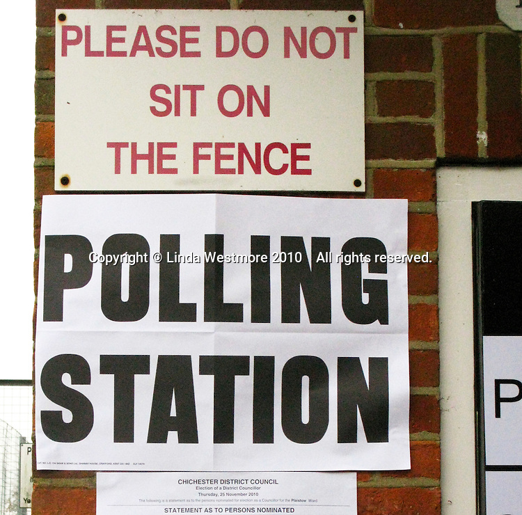 Sign at the polling station in Plaistow, West Sussex, on Local Council Polling Day.