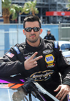 Apr. 1, 2012; Las Vegas, NV, USA: NHRA pro stock driver Vincent Nobile during the Summitracing.com Nationals at The Strip in Las Vegas. Mandatory Credit: Mark J. Rebilas-