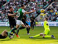 28th August 2021;  Easter Road , Leith, Edinburg, Scotland; Scottish Premier League football, Hibernian versus Livingston; Martin Boyle of Hibernian scores the second goal for Hibs for 2-0 in the 89th minute