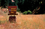 Hells Canyon Recreation Area sign at base of Hat Point Road, Imnaha, Oregon.