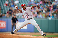 Syracuse Chiefs relief pitcher Wander Suero (16) delivers a pitch during a game against the Buffalo Bisons on July 6, 2018 at Coca-Cola Field in Buffalo, New York.  Buffalo defeated Syracuse 6-4.  (Mike Janes/Four Seam Images)