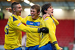 Dunfermline v St Johnstone..24.12.11   SPL .Fran Sandaza celebrates his goal with Marcus Haber and Murray Davidson.Picture by Graeme Hart..Copyright Perthshire Picture Agency.Tel: 01738 623350  Mobile: 07990 594431