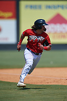 Carolina Mudcats Nathan Rodriguez (9) running the bases during a Carolina League game against the Winston-Salem Dash on August 14, 2019 at Five County Stadium in Zebulon, North Carolina.  Winston-Salem defeated Carolina 4-2.  (Mike Janes/Four Seam Images)