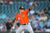 Norfolk Tides starting pitcher Kevin Gausman (13) in action against the Charlotte Knights at BB&T BallPark on April 20, 2016 in Charlotte, North Carolina.  The Knights defeated the Tides 6-3.  (Brian Westerholt/Four Seam Images)
