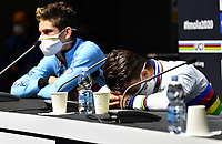 Picture by Simon Wilkinson/SWpix.com - 27/09/2020 - Cycling - UCI 2020 Road World Championships IMOLA - EMILIA-ROMAGNA ITALY - Road Race Elite Men - Wout Van Aert of Belgium and Julian Alaphilippe of France in the rainbow jersey during the press conference - SANTINI