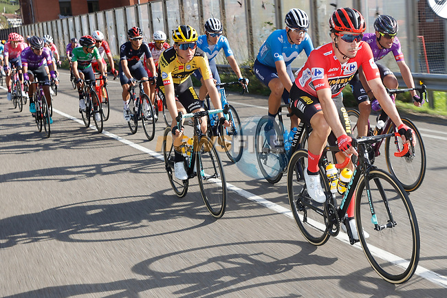 The peloton including race leader Red Jersey Primoz Roglic (SLO) Team Jumbo-Visma during Stage 11 of the Vuelta Espana 2020 running 170km from Villaviciosa to Alto de la Farrapona, Spain. 31st October 2020.    <br /> Picture: Luis Angel Gomez/PhotoSportGomez | Cyclefile<br /> <br /> All photos usage must carry mandatory copyright credit (© Cyclefile | Luis Angel Gomez/PhotoSportGomez)
