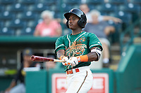 Osiris Johnson (1) of the Greensboro Grasshoppers follows through on his swing against the West Virginia Power at First National Bank Field on August 9, 2018 in Greensboro, North Carolina. The Power defeated the Grasshoppers 5-3 in game one of a double-header. (Brian Westerholt/Four Seam Images)
