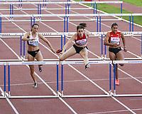 26th August 2021; Lausanne, Switzerland;  Kim Flattich of Switzerland wins womens 100m hurdles during Diamond League athletics meeting  at La Pontaise Olympic Stadium in Lausanne, Switzerland.