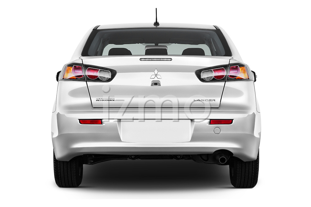 Straight rear view of 2016 Mitsubishi Lancer ES-CVT 4 Door Sedan Rear View  stock images