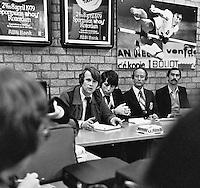 1979, ABN Tennis Toernooi, Harm Scheepbouwer en Peter Bonthuis in een persconferentie