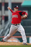 Pawtucket Red Sox pitcher Doug Mathis #41 during a game against the Buffalo Bisons at Coca-Cola Field on April 15, 2012 in Buffalo, New York.  Buffalo defeated Pawtucket 10-9 in ten innings.  (Mike Janes/Four Seam Images)