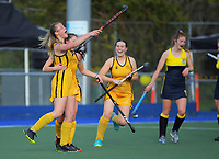 Ruby Baker (left) celebrates her goal. 2020 Lower North Island Secondary Schools Hockey Girls Premiership tournament final between Wellington Girls' College and Wairarapa College at Fitzherbert Park Twin Turfs in Palmerston North, New Zealand on Friday, 4 September 2020. Photo: Dave Lintott / lintottphoto.co.nz