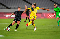 21st July 2021. Tokyo, Japan;  Olympic Games CJ Bott from New Zealand and Kyah Simon 17 from Australia during the entee Australia and New Zealand soccer game at the 2021 Tokyo Olympic Games held in Tokyo, Japan.