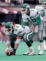 Mike Anderson Tom Burgess Saskatchewan Roughriders 1987. Photo F. Scott Grant