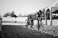 teammates Ellen Van Loy (BEL/Telenet-Fidea) & Jolien Verschueren (BEL/Telenet-Fidea) fighting for 2nd in the long sand stroke<br /> <br /> Elite Women's Race<br /> Soudal Jaarmarktcross Niel 2016