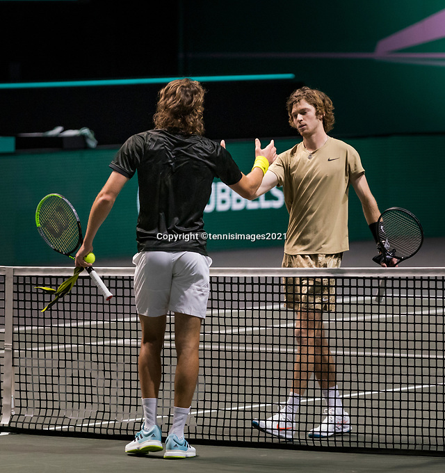 Rotterdam, The Netherlands, 6 march  2021, ABNAMRO World Tennis Tournament, Ahoy,  <br /> Semi final: Stefanos Tsitsipas (GRE) vs Andrey Rublev (RUS).  Photo: www.tennisimages.com/