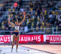 4th July 2021; Stockholm Olympic Stadium, Stockholm, Sweden; Diamond League Grand Prix Athletics, Bauhaus Gala; Bekh Romanchuk rallies the crowd in the women's long jump