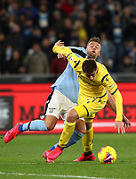 Football, Serie A: S.S. Lazio - Hellas Verona, Olympic stadium, Rome, February 5, 2020.<br /> Lazio's Sergej Milinkovic-Savic (l) in action with Hellas Verona's Marash Kumbulla (r) during the Italian Serie A football match between S.S. Lazio and Hellas Verona at Rome's Olympic stadium, Rome, on February 5, 2020. <br /> UPDATE IMAGES PRESS/Isabella Bonotto