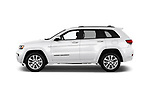 Car driver side profile view of a 2017 Jeep Grand Cherokee Overland 5 Door SUV