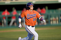 Third baseman Bryar Hawkins (10) of the Clemson Tigers runs out a batted ball in a game against the Stony Brook Seawolves on Friday, February 21, 2020, at Doug Kingsmore Stadium in Clemson, South Carolina. Clemson won, 2-0. (Tom Priddy/Four Seam Images)