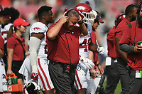 Arkansas head coach Sam Pittman walks to the sideline, Saturday, October 9, 2021 during the fourth quarter of a football game at Vaught Hemingway Stadium in Oxford, Miss. Check out nwaonline.com/211010Daily/ for today's photo gallery. <br /> (NWA Democrat-Gazette/Charlie Kaijo)