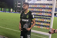 BARRANCABERMEJA - COLOMBIA, 11-11-2020: Andres Andrade de Atletico Nacional, es el jugador del partido Alianza Petrolera y Atletico Nacional de la fecha 19 por la Liga BetPlay DIMAYOR 2020 en el estadio Daniel Villa Zapata en la ciudad de Barrancabermeja. / Andres Andrade of Atletico Nacional, is the player of a match between Alianza Petrolera and Atletico Nacional, of the 19th date for the BetPlay DIMAYOR League 2020 at the Daniel Villa Zapata stadium in Barrancabermeja city. Photo: VizzorImage  / Jose D. Martinez / Cont.