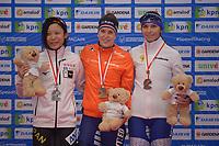 SPEEDSKATING: 24-11-2019 Tomaszów Mazowiecki (POL), ISU World Cup Arena Lodowa, Podium 1500m Ladies Division A, Miho Takagi (JPN), Ireen Wüst (NED), Evgeniia Lalenkova (RUS), ©photo Martin de Jong