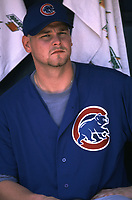 Kerry Wood of the Chicago Cubs during a 2000 season MLB game at Qualcomm Stadium in San Diego, California. (Larry Goren/Four Seam Images)
