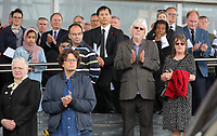 Pictured: People attending applaud as his coffin is led away after the service. Wednesday 31 May 2017<br />