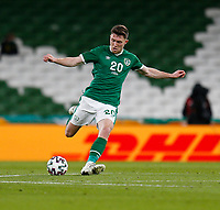 27th March 2021; Aviva Stadium, Dublin, Leinster, Ireland; 2022 World Cup Qualifier, Ireland versus Luxembourg; Dara O'Shea plays the ball away for Republic of Ireland
