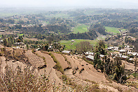 Bhaktapur, Nepal.  Hillside Villages near Bhaktapur.  Atmospheric Haze Caused by Brick-making Factories Nearby.