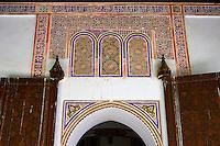 Berber arabesque Mocarabe plasterwork door surrounds.The Petite Court, Bahia Palace, Marrakesh, Morroco